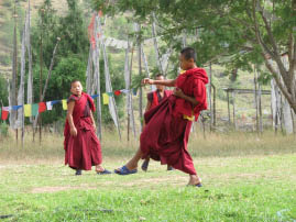 Young monks play soccer