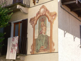 Aging fresco on building