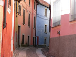 Levo, with brightly painted buildings
