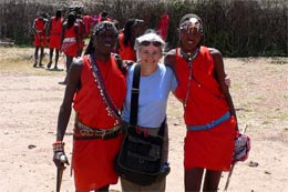 Nancy with her Masai Friends