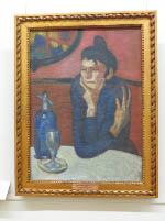 Picasso – The Absinthe Drinker 1901 – a woman in a grimy café contemplating her fate