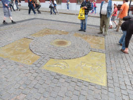 Zero point of Road Measures at Red Square, Moscow, Russia.